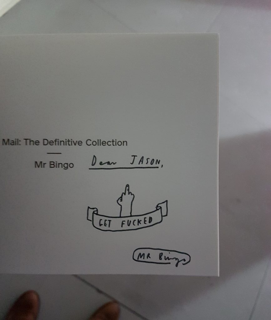 Signed copy of Hate Mail: The Definitive Collection by Mr. Bingo.
